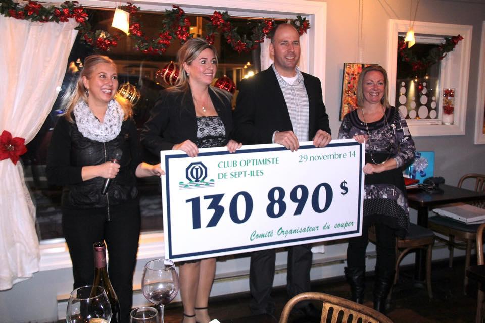 39e Souper-bénéfice: Le Club Optimiste récolte près de 131 000$