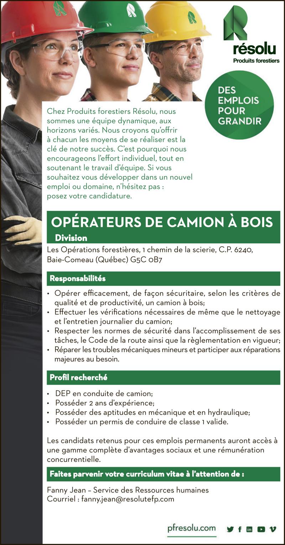 Logo de OPÉRATEURS DE CAMION À BOIS
