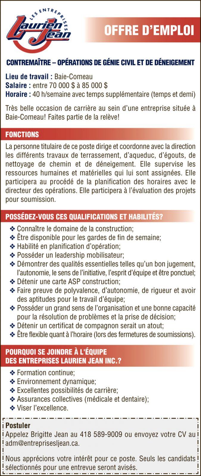 OPÉRATIONS DE GÉNIE CIVIL ET DE DÉNEIGEMENT