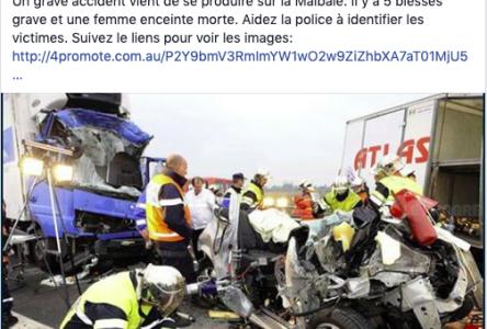 Attention: une fausse nouvelle d'accident circule sur Facebook