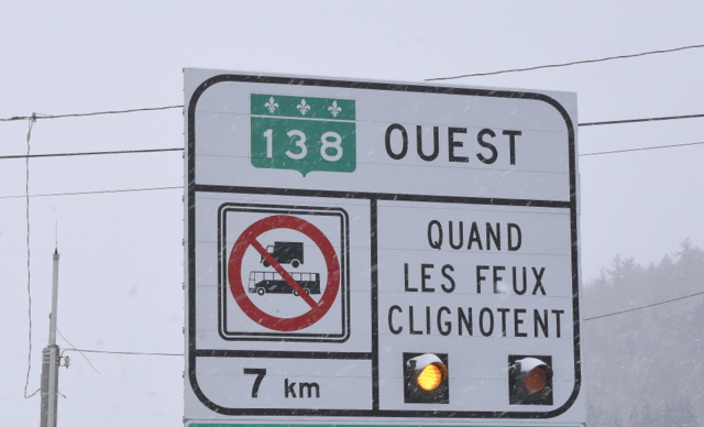 Circulation interdite aux véhicules lourds sur la 138 dans Charlevoix