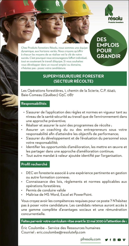 Logo de Superviseur/eure forestier (secteur récolte)