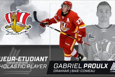 Gabriel Proulx finaliste pour le prix de joueur-étudiant de l'année dans la LHJMQ