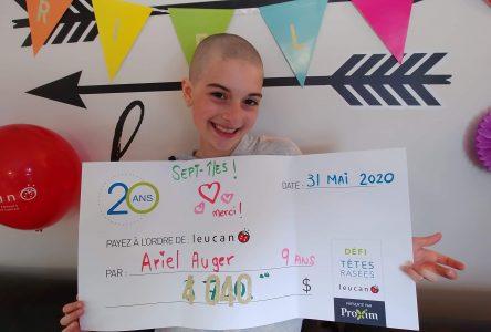 Les cheveux d'Ariel Auger rapportent plus de 4 600 $ à Leucan