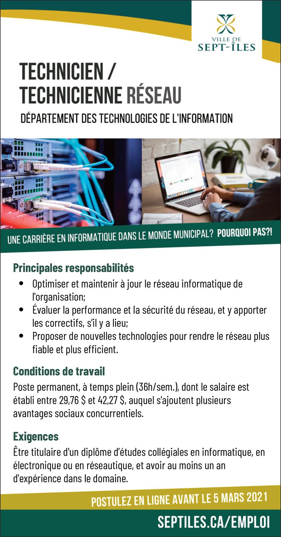 Technicien(ne) réseau – technologie de l'information