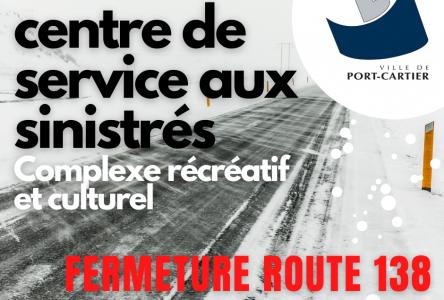 Fermeture de la route 138 : ouverture d'une aire d'attente à Port-Cartier